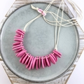 Handcrafted polymer clay adjustable necklace in pink