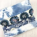 Handcrafted kimono fabric clutch handbag with long strap- indigo, white