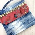Handcrafted kimono fabric clutch handbag with long strap- indigo, pink