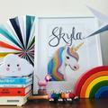 Personalised Rainbow Unicorn Print: Unframed