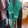 """knitted scarf """"puckered"""" made from 100% cotton. Green and white"""