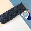 Kimono fabric makeup bag/pouch with beaded tassel- indigo blue and white chevron