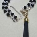 Monochrome Leopard Tassel Choker Necklace