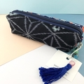 Kimono fabric makeup bag /pencil case with beaded tassel- indigo ikat & floral