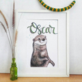 Personalised Otter Print: Framed