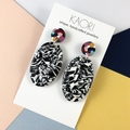 Polymer clay earrings, statement earrings in monochrome with colour splash studs