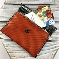 Leather & kimono fabric hand made coin purse / wallet - burnt orange and indigo