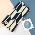 Glasses / sunnies case with wooden heart- navy & white chevron