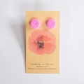 Bright pink polymer clay stud earrings