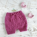 Dark Pink Hand Crocheted  Baby Bloomers 3-6 months