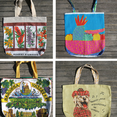 Tea Towel linen Market Tote Bag - Choose One .Rethink Reuse Recycle