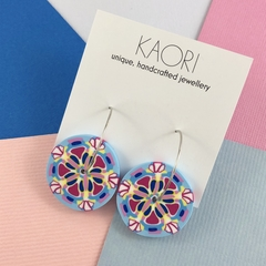 Polymer clay earrings, statement hoop earrings in pink blue yellow