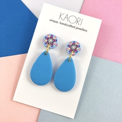 Polymer clay earrings, statement earrings in pink blue yellow