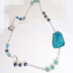 Sea sediment jasper, Chalcedony and Apatite necklace