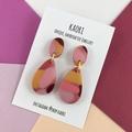 Polymer clay earrings, statement earrings in pink mustard splash