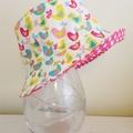 Medium size- SECONDS-Girls summer hat in birds fabric