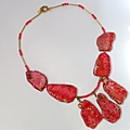 Sea sediment jasper and faceted pink jade necklace.