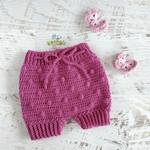 Dark Pink Hand Crocheted  Baby Bloomers 3-6 months