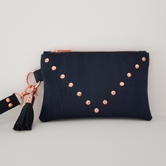 Navy rose gold clutch