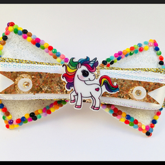 WHITE BEADED UNICORN, Glitter Queen, Hair Bow ELASTIC.