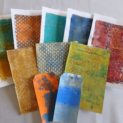Original Gelli Print Art Papers