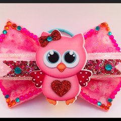 Cute Little Hoot Owl, Hair Bow Elastic.