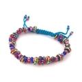 Adjustable Beaded Bracelet - Ruby Red and Cobalt Blue
