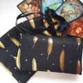 Black and Gold Lined Drawstring Pouch for Tarot and Oracle Cards