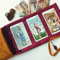 Red Velvet Tarot Bag and Reading Cloth - Lenormand Card Holder