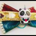 Rainbow Unicorn Panda, Hair Bow Elastic.