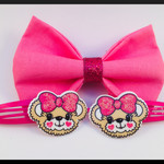 Pink Hair Bow Elastic comes as a set with teddy bear hair clips.