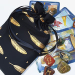 Black and Gold Drawstring Pouch for Tarot and Oracle Cards