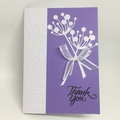 Thank You Card - White Chloe stems on Lavender