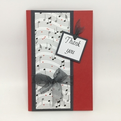 Thank You Card - Red, Music Stave