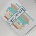 Birthday Card - Washi Tape Strips, pastels