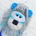 'Lachie' the Sock Lion - blues and grey argyle - *MADE TO ORDER*