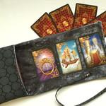 Silver  Velvet Tarot Bag and Reading Cloth - Lenormand Card Holder