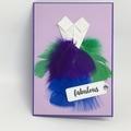 Blank Card - Feather dress 'fabulous'