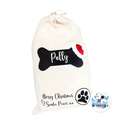 Puppy's Personalised Christmas Treat Bag From Santa Paws Pet Present Gift Sack