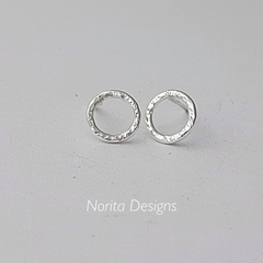 Sterling Silver Stud, Minimalist, Dainty, Hand-Forged Earrings.