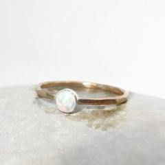 14k Gold Filled with      4 1/2mm synthetic white opal, October Birthstone ring