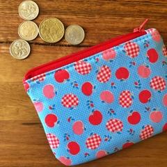 Coin purse - blue apples