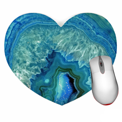 Blue Agate Mouse Pad - Heart shaped mouse pad