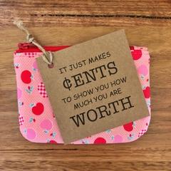 Coin purse - pink apples Pre- order: teacher's gift