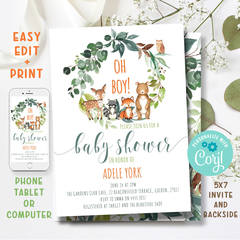 EDITABLE Printable Boy Baby Shower Invitation, Woodland Baby Shower