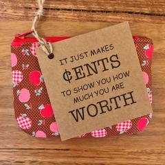 Coin purse - brown apples Pre- order: teacher's gift