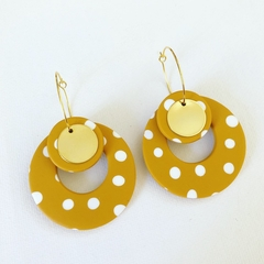 PoLKA DoT Collection - Hula Hoop Maxi Dangles w/ Gold Disc (Mustard + White)