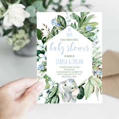 Baby Shower Invitation Greenery Elephant