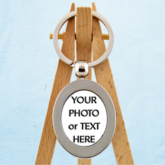 Custom Oval Key Ring - Personalised Key Ring - Photo Key Ring