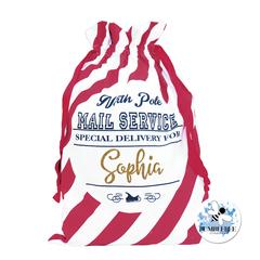 North Pole Mail Service - Santa Sack - Candy Cane Stripe Christmas Present Bag